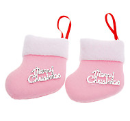 2PCS Pink Socks Christmas Decoration Christmas Tree Ornament