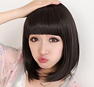 жен. Парики из искусственных волос Средний Черный Стрижка боб С чёлкой Черный парик Карнавальные парики