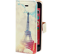 Fresh Style Eiffel Towel Pattern PU Full Body Case with Card Slot and Stand for iPhone 5C