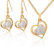 u7® 18k Rhinestone austríaco plateado oro de la SWA corazones shamballa joyas establece regalo de la joyería para las mujeres