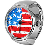 Women's US Flag Pattern Silver Alloy Quartz Ring Watch