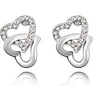 Double Heart Earrings & Necklace Jewelry Set