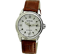 Men'S Auto-Mechanical Silver Case White Black Dial Date Pu Leather Band Wrist Watch