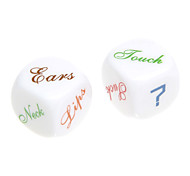 2pcs ABS White Fillet English Funny Dices