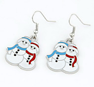 Christmas Gift Snowman White Drop Earrings