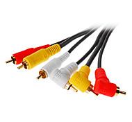 jsj® 5m 16.4ft 3 rca 90 graden male naar 3 RCA male av-kabel - zwart