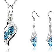 Jewelry Set Drop Earrings Pendant Necklaces Earrings Crystal Rhinestones Fashion ElegantCrystal Cubic Zirconia Silver Plated Imitation