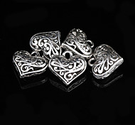 Sweet Heart Silver Alloy Charms 5 Pcs/Bag (Silver)