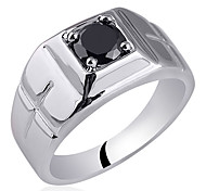 Cross On Both Sizes Men Sterling Silver Ring With Zircon