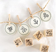 12pcs DIY Wooden Flower Style Stamp Set