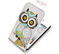 Owl Up-Down Turn Over PU Leather Full Bady Case for iPhone 4/4S