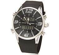 Men's Multi-Functional Analog-Digital Dial Rubber Band Quartz-Lcd Wrist Watch