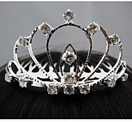Fashion Beautiful Silver Crown with Crystal Hair Combs For Women