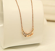 Women's Charming Crystal Angle Pattern Rose Gold Short Necklace