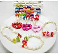 Gioielli 1 collana 1 bracciale Feste Perla 1 Set Bambine Rosso Rosa Regali di nozze