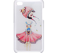 Cartoon Style A Girl in Special Dress Pattern Epoxy Hard Case for iPod Touch 4