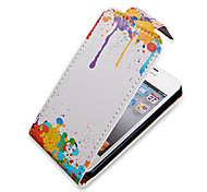 Pintura a óleo Turn Up-Down sobre PU Leather Bady Full Case para iPhone 4/4S