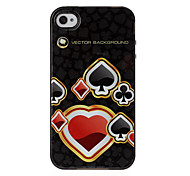 Hearts Poker Texture TPU Soft GEL Back Cover Skin Case for iPhone 4/4S