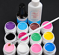 15PCS 12 Farbe Transparent 8ML Pure Color UV Gel Nail Art Set B