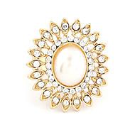 Style de la Corée de mode de fleur de perle Statement Ring