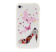 High-heeled Shoes and Butterfly TPU Soft GEL Back Case Cover for iPhone 4/4S