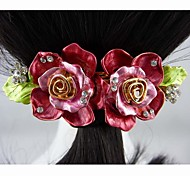 Fashion Beautiful Alloy Pink Flower Hairpins for Women