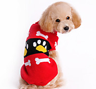 Dog Sweater Red Dog Clothes Winter Cartoon
