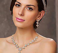 Austrian Rhinestone Flowers Bridal Necklace and Earring Set