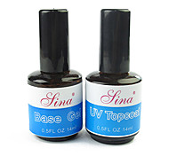 Kits de uñas de gel 2pcs ultravioleta (uv gel y base de uv gel superior abrigo, 14ml)