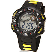 Men's Multi-Functional Lcd Digital Dial Rubber Band Wrist Watch