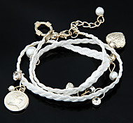 Fabric Bracelet Multilayer European Style Fabric Heart Pendant Wrap Bracelet