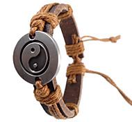 Vintage 17Cm Men'S Brown  Leather Bracelet(Brown,Red And More)(1 Pc)
