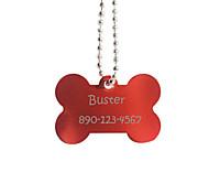 Personnalisé os Cadeau Forme rouge Pet Id Name Tag avec la chaîne pour chiens