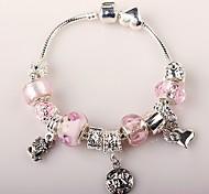 perlas de color rosa pulsera del encanto de la mujer pulseras de abalorios artesanales de estilo europeo
