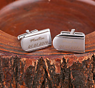 Personalisierte Geschenke Curve Silber Metall gravierte Manschettenknopf