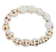 Men's White Skull Turqoise Stone Elastic Strand Bracelet