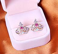 Korean jewelry full diamond earrings shiny hollow crown earrings earrings E810