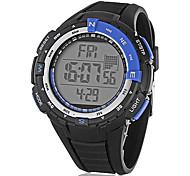 Unisex Multi-Funcional Rodada LCD Preto Digital Rubber Band relógio de pulso (cores sortidas)