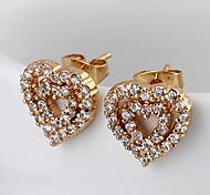 Gold plated bronze zircon stud Earrings ERZ0069 - Heart Shaped