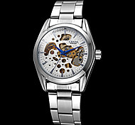 Unisex Auto-Mechanical Hollow Dial Silver Steel Band Wrist Watch (Assorted Colors)