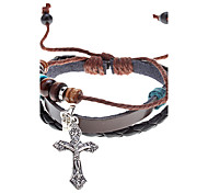Unisex Cross Fabric Leather Bracelet