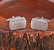 Personalisierte Geschenke Raute-Muster-Silber-Metall Gravierte Manschettenknopf