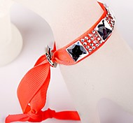 Glass Diamond Ribbon Orange Bracelet