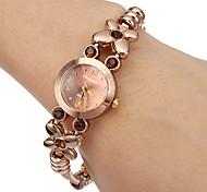Women's Little Round Dial Diamante Flower Alloy Band Quartz Analog Wrist Watch Cool Watches Unique Watches