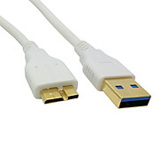 100cm Gold Connector White USB 3.0 A Male to Micro B Male Data Charger Cable for Galaxy Note3 N9000 N900