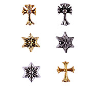 20PCS Bronze Golden&Silver Retro Chrome Hearts Nail Art Decorations(Assorted Colors,No.1-6)