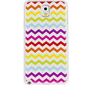Pintura plástica cubierta colorida W-Shape Stripe Pattern duro de nuevo caso para Samsung Galaxy Nota 3 N9000