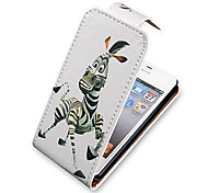 Cartoon Zebra Up-Down Turn Over PU Leather Case Bady completa para el iPhone 4/4S