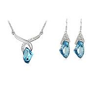 Austrian Crystal Necklace Earrings Jewelry Set