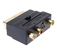 Scart al adaptador 3 RCA compuesto S-Video AV TV Audio